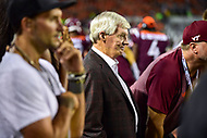 Blacksburg, VA - OCT 6, 2018: Former Virginia Tech Hokies coach and 2018 Hall of Fame inductee Frank Beamer on the sideline during game between Notre Dame and Virginia Tech at Lane Stadium/Worsham Field Blacksburg, VA. (Photo by Phil Peters/Media Images International)