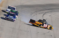 May 30, 2008; Dover, DE, USA; Nascar Craftsman Truck Series driver Ryan Seaman spins during the AAA Insurance 200 at Dover International Speedway. Mandatory Credit: Mark J. Rebilas-US PRESSWIRE.