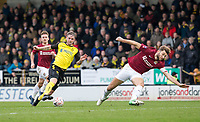 5th January 2020; Pirelli Stadium, Burton Upon Trent, Staffordshire, England; English FA Cup Football, Burton Albion versus Northampton Town; David Templeton of Burton Albion turns with the ball as Charlie Goode of Northampton Town slips - Strictly Editorial Use Only. No use with unauthorized audio, video, data, fixture lists, club/league logos or 'live' services. Online in-match use limited to 120 images, no video emulation. No use in betting, games or single club/league/player publications