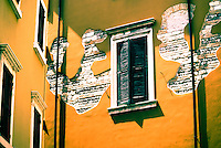Stucco and Brick Patterns on Buildings in Verona, Italy, Europe