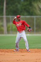 St. Louis Cardinals Allen Cordoba (34) throws to first base during a Minor League Spring Training intrasquad game on March 31, 2016 at Roger Dean Sports Complex in Jupiter, Florida.  (Mike Janes/Four Seam Images)