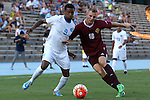 14 August 2015: North Carolina's Jordan McCrary (9) and Winthrop's Max Hasenstab (GER) (18). The University of North Carolina Tar Heels hosted the Winthrop University Eagles at Fetzer Field in Chapel Hill, NC in a 2015 NCAA Division I Men's Soccer preseason exhibition. North Carolina won the game 4-1.