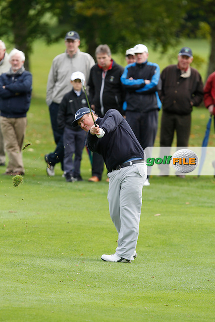 Michael McGeady on his 2nd shot on the 18th during Round 4 of the 104th Irish PGA Championship at Adare Manor Golf Club on Sunday 5th October 2014.<br /> Picture:  Thos Caffrey / www.golffile.ie