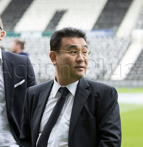 21st October 2017, Pride Park Stadium, Derby, England; EFL Championship football, Derby County versus Sheffield Wednesday; Sheffield Wednesday Owner Mr Dejphon Chansiri looking at the pitch and stands from the pitch before the match