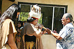 A Tongva elder offers the pipe to the Chief at the Fall Equinox celebration at Haramokngna Native American Cultural Center, Angeles National Forest, CA