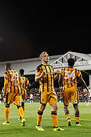 GOAL - Jarrod Bowen of Hull City celebrates with the fans  during the Sky Bet Championship match between Fulham and Hull City at Craven Cottage, London, England on 13 September 2017. Photo by Carlton Myrie.