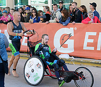 Patrick Utitus-Canez competes in a wheelchair during the 2017 IRONMAN Wisconsin on Sunday, September 10 in Madison