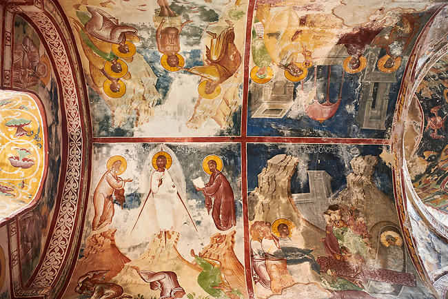 Pictures & images of the Byzantine apse fresco in the Gelati Georgian Orthodox Church St George, 13th century, depicting scenes from the life of Christ.  The medieval Gelati monastic complex near Kutaisi in the Imereti region of western Georgia (country). A UNESCO World Heritage Site.