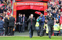 Pictured: Sir Alex Ferguson (C) comes out of the Old Trafford tunnel greeting supporters. Sunday 12 May 2013<br /> Re: Barclay's Premier League, Manchester City FC v Swansea City FC at the Old Trafford Stadium, Manchester.