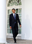 United States President Barack Obama makes his way to the Rose Garden to deliver a statement to the press on the economy at the White House in Washington D.C., Wednesday, September 15 2010..Credit: Olivier Douliery / Pool via CNP