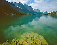 Rock formations on the shore of St. Mary Lake; Glacier National Park, MT