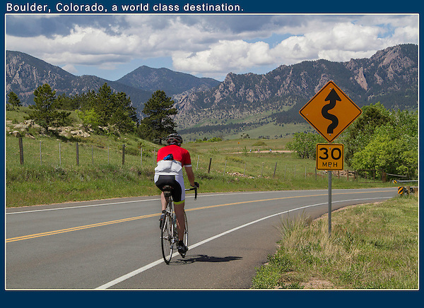"Ever go cycling with friends or family? Pull over, make a nice composition using strong lines leading from the corner. This compostion is your ""stage.""  Now, let your fellow cyclists pass by, while you take a series of shots. Unobtrusive action photos. Colorado private tours."