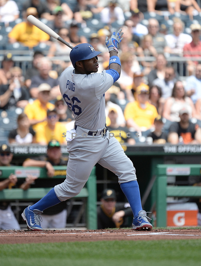 Los Angeles Dodgers Yasiel Puig (66) during a game against the Pittsburgh Pirates on June 27, 2016 at PNC Park in Pittsburgh, PA. The Dodgers beat the Pirates 4-3.