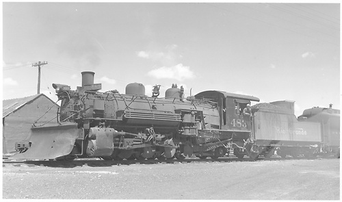 Fireman side view of K-36 #483 with plow at Antonito.<br /> D&amp;RGW  Antonito, CO  Taken by Richardson, Robert W. - 5/15/1950