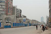 Daytime landscape view of construction of the Wuhan Metro Line Number Three on Fa Zhan Da Dao near the Hankou Railway Station in Hànkǒu in the Jiānghàn Qū in Hubei Province.  © LAN