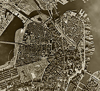 historical aerial photograph Boston, Massachusetts, 1955