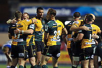 Northampton Saints celebrate at the final whistle. Amlin Challenge Cup Final, between Bath Rugby and Northampton Saints on May 23, 2014 at the Cardiff Arms Park in Cardiff, Wales. Photo by: Patrick Khachfe / Onside Images