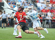 Baltimore, MD - April 28, 2018: Maryland Terrapins Tim Rotanz (7) attempts a shot during game between John Hopkins and Maryland at  Homewood Field in Baltimore, MD.  (Photo by Elliott Brown/Media Images International)