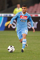 Naples's   Lorenzo Insigne controls the ball  during Italian Serie A soccer match against Genoa at the San Paolo  stadium in Naples April 7, 2013