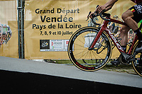 Lotto Soudal rider riding up the Team Presentation podium of Le Grand D&eacute;part 2018<br /> 105th Tour de France 2018<br /> &copy;Kramon
