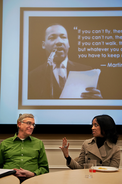 Stephanie Saunders (right) and John Schmieding (left) discuss race relations during the MLK Jr. Speakout. The event was held in Baker Ballroom and featured an open disscussion of race between the participants. Photo by: Ross Brinkerhoff.