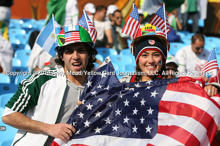 23 JUN 2010: USA fans, pregame. The United States National Team played the Algeria National Team at Loftus Versfeld Stadium in Tshwane/Pretoria, South Africa in a 2010 FIFA World Cup Group C match.