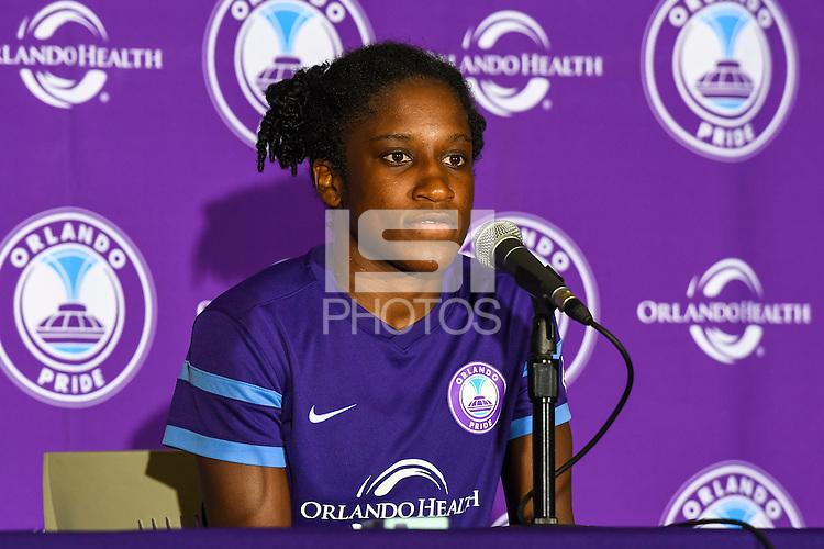 Orlando, FL - Sunday June 26, 2016: Jasmyne Spencer  after a regular season National Women's Soccer League (NWSL) match between the Orlando Pride and the Portland Thorns FC at Camping World Stadium.