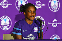 Orlando, FL - Sunday June 26, 2016: Jasmyne Spencer  after a regular season National Women's Soccer League (NWSL) match between the Orlando Pride and the Portland Thorns FC at Camping World Stadium.
