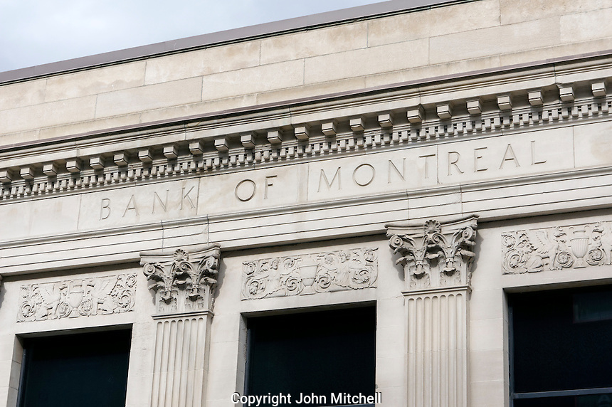 Closeup of a  Bank of Montreal building in downtown Montreal, Quebec, Canada