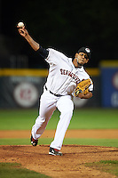 Erie Seawolves pitcher Edgar De La Rosa (50) delivers a pitch during a game against the Richmond Flying Squirrels on May 19, 2015 at Jerry Uht Park in Erie, Pennsylvania.  Richmond defeated Erie 8-5.  (Mike Janes/Four Seam Images)