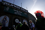 March 3, 2013; Portland, OR, USA; Portland Timbers' fan Jazzlyn Baulson, 12, of Camas, Washington, sporting a red mohawk, waits in line outside Jeld-Wen Field before the soccer match between the Timbers and the New York Red Bulls.  Mandatory Credit: Jaime Valdez-USA TODAY Sports