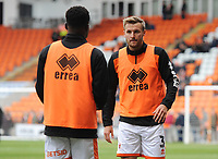 Blackpool's Nick Anderton (right) and Marc Bola during the pre-match warm-up <br /> <br /> Photographer Kevin Barnes/CameraSport<br /> <br /> The EFL Sky Bet League One - Blackpool v Gillingham - Saturday 4th May 2019 - Bloomfield Road - Blackpool<br /> <br /> World Copyright © 2019 CameraSport. All rights reserved. 43 Linden Ave. Countesthorpe. Leicester. England. LE8 5PG - Tel: +44 (0) 116 277 4147 - admin@camerasport.com - www.camerasport.com