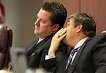 Nevada Assembly Speaker John Oceguera, left, and Assemblyman Marcus Conklin, both D-Las Vegas, at the Legislature, in Carson City, Nev., on Wednesday, March 23, 2011.  .Photo by Cathleen Allison