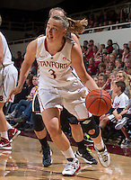Stanford's Mikaela Ruef drive the ball down court  during Saturday, November 25, 2012 game against Long Beach State at Stanford.  Stanford won 77-41.
