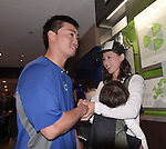 Norichika Aoki (Royals),<br /> OCTOBER 29, 2014 - MLB :<br /> Norichika Aoki of the Kansas City Royals talks with his wife Sachi after Game 7 of the 2014 Major League Baseball World Series against the San Francisco Giants at Kauffman Stadium in Kansas City, Missouri, United States. (Photo by AFLO)