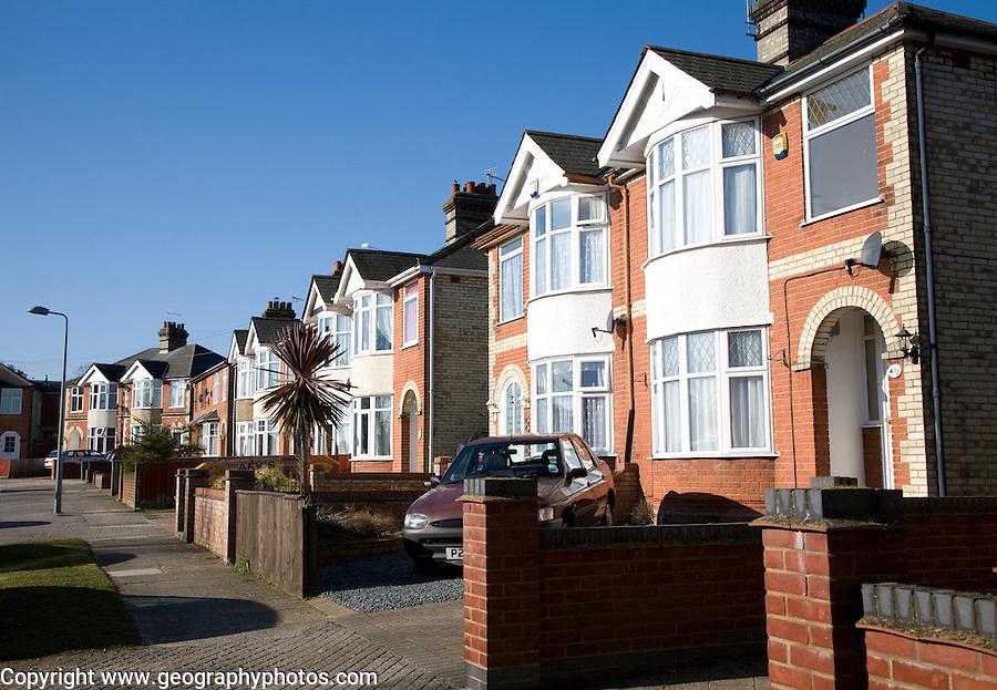 Inter war semi detached housing, Ipswich, Suffolk