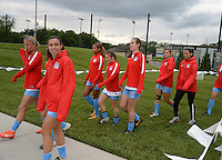 Kansas City, MO - Friday May 13, 2016: Chicago Red Stars players before the game. FC Kansas City and the Chicago Red Stars played to a 0-0 tie during a regular season National Women's Soccer League (NWSL) match at Swope Soccer Village.