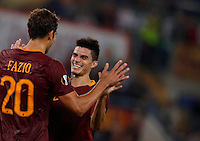 Calcio, Europa League: Roma vs Astra Giurgiu. Roma, stadio Olimpico, 29 settembre 2016.<br /> Roma&rsquo;s Federico Fazio, left, celebrates with his teammate Diego Perotti after scoring during the Europa League Group E soccer match between Roma and Astra Giurgiu at Rome's Olympic stadium, 29 September 2016. Roma won 4-0.<br /> UPDATE IMAGES PRESS/Isabella Bonotto