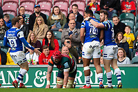 Joe Cokanasiga of Bath Rugby celebrates his first half try with team-mates. Gallagher Premiership match, between Leicester Tigers and Bath Rugby on May 18, 2019 at Welford Road in Leicester, England. Photo by: Patrick Khachfe / Onside Images