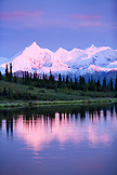 USA, Alaska, Brooks Peak reflecting in Mirror Lake, Denali National Park