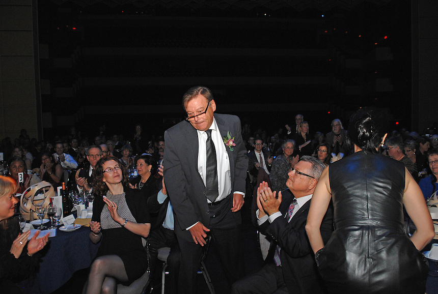 Guy Vanderhaeghe rises to accept the Lifetime Achievement Award at the Lieutenant Governor Arts Awards in Regina, Saskatchewan Wednesday September 25, 2013. MARK TAYLOR GALLERY