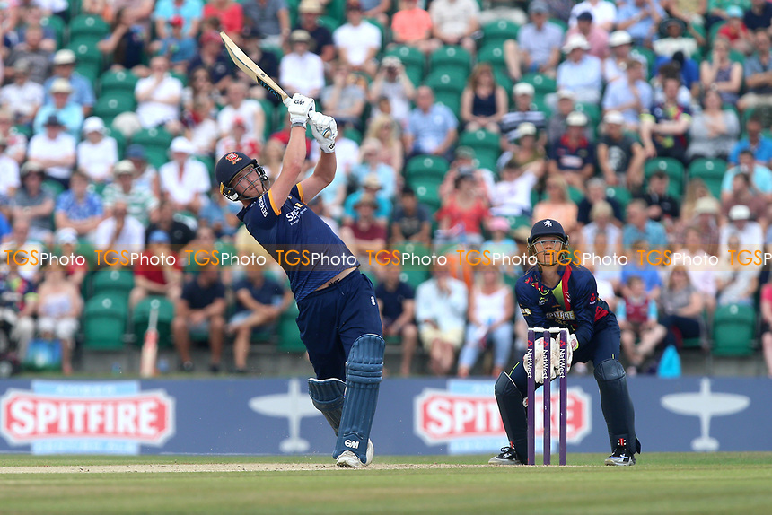 Tom Westley hits six runs for Essex as Sam Billings looks on from behind the stumps during Kent Spitfires vs Essex Eagles, NatWest T20 Blast Cricket at The County Ground on 9th July 2017