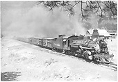 D&amp;RGW #476 K-28 hauling stock cars thru Rockwood with #478 as pusher.<br /> D&amp;RGW  Rockwood MP 469,   Taken by Payne, Andy M. - 7/8/1958
