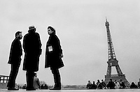 Tourist stand with the Eiffel tower at rear in Paris, France, 1996...Photo by Roberto Candia