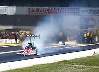 Jun. 1, 2014; Englishtown, NJ, USA; NHRA top fuel driver Steve Torrence during the Summernationals at Raceway Park. Mandatory Credit: Mark J. Rebilas-
