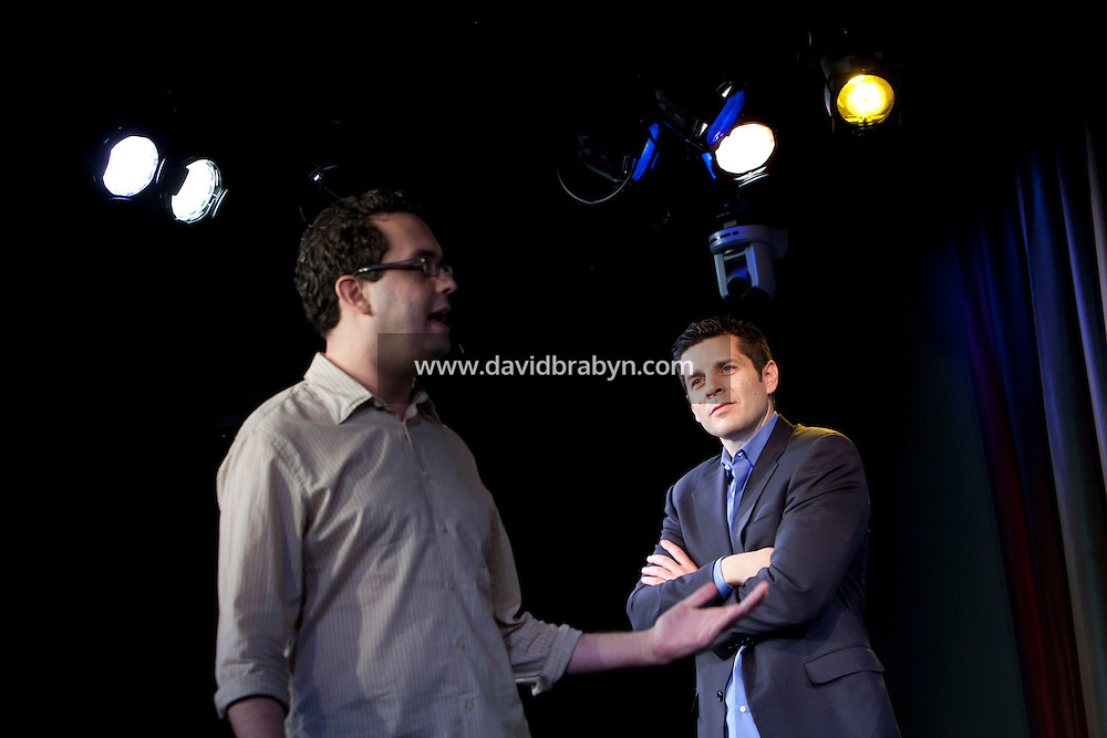 Comedians Dean Obeidallah (R) and Joe DeRossa perform in the 6th Annual NY Arab-American Comedy Festival in New York, USA, 10 May 2009.