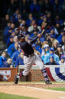 Cleveland Indians Rajai Davis (20) hits a single in the sixth inning during Game 5 of the Major League Baseball World Series against the Chicago Cubs on October 30, 2016 at Wrigley Field in Chicago, Illinois.  (Mike Janes/Four Seam Images)
