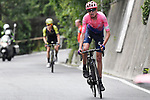 Hugh John Carthy (GBR) EF Education First attacks on the Civiglio during Stage 15 of the 2019 Giro d'Italia, running 232km from Ivrea to Como, Italy. 26th May 2019<br /> Picture: Fabio Ferrari/LaPresse | Cyclefile<br /> <br /> All photos usage must carry mandatory copyright credit (© Cyclefile | Fabio Ferrari/LaPresse)