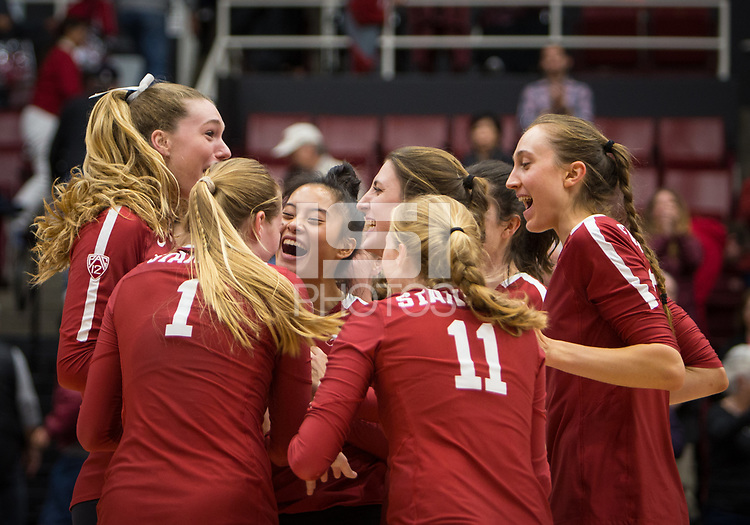 Stanford, CA - October 18, 2019: Selina Xu, Kendall Kipp, Jenna Gray, Kate Formico, Caitlin Keefe, Madeleine Gates at Maples Pavilion. The No. 2 Stanford Cardinal swept the Colorado Buffaloes 3-0.