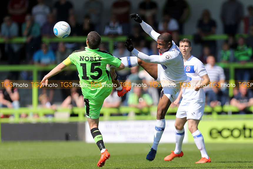Liam Noble of Forest Green Rovers and Andre Boucaud of Dagenham and Redbridge during Forest Green Rovers vs Dagenham & Redbridge, Vanarama National League Play-Off Football at The New Lawn on 7th May 2017